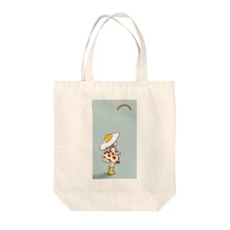 目玉焼き傘の女の子、後姿 Tote bags