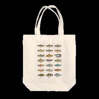 猫と釣り人のドット絵(TANSUIGYO_1) Tote bags