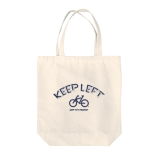 KEEP LEFT BW Tote bags