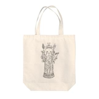 千手観音猫 Tote bags