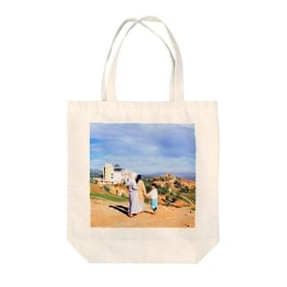 モロッコ:フェズ郊外の丘の風景 Morocco: view of outside Fès Tote bags