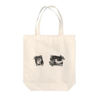 モノクロver.inlet_cats sample No.2 Tote bags