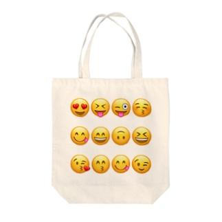 happy face emojis Tote bags
