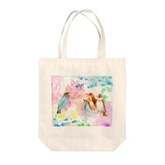 青い鳥がなくとき -蓮の花- Tote bags