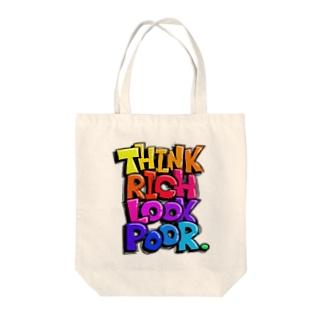 THINK RICH LOOK POOR. Tote bags