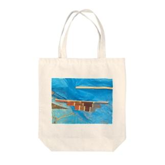 ブルーシートtee Tote bags