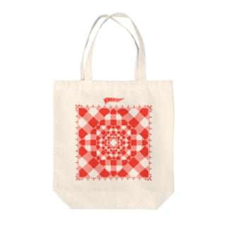 Gingham mandala Tote bags