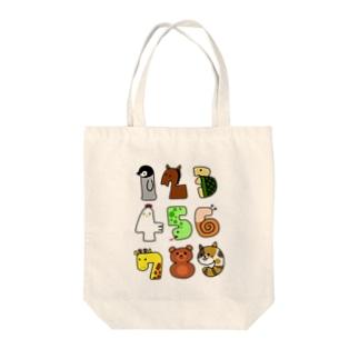 動物数字 Tote bags
