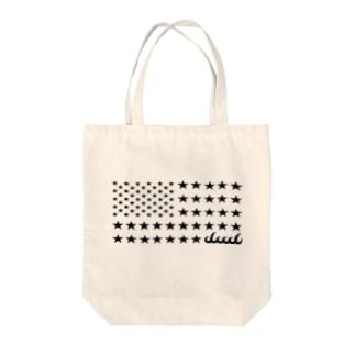 dacci 星条旗オール星(黒) Tote bags