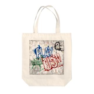 ウォールアート風PLAY WITH US トートバッグ Tote bags