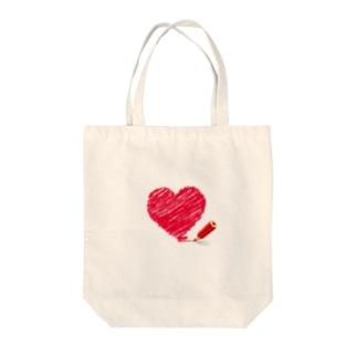 色鉛筆  (ハート) Tote bags