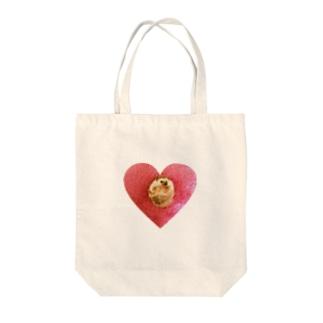 ハートのハリネズミ Tote bags