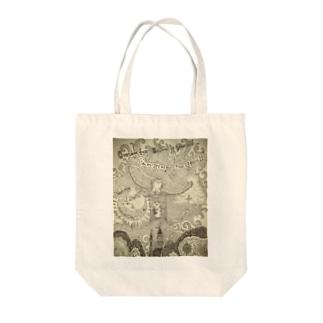 カエルのallex 空を飛ぶ Tote bags