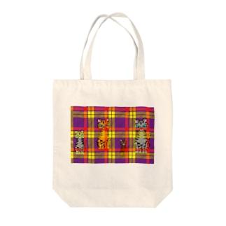 タータンキャット Tote bags