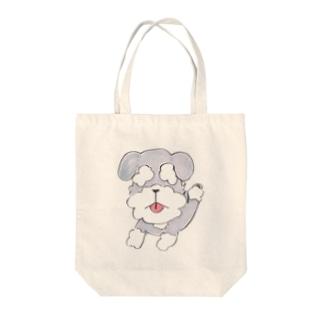 まゆげ犬のシュナウザー Tote bags