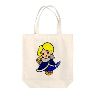 ネコマフラーのお姉さん Tote bags