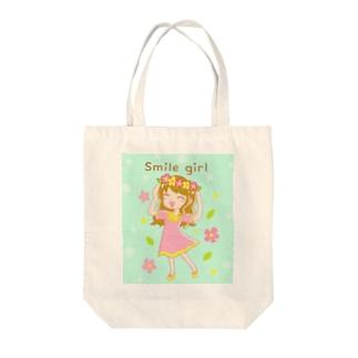 スマイルガール【にこにこ女の子】 Tote bags