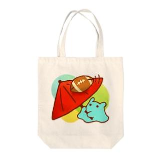 くるくるラグビーボール!【水星人のスイスイちゃん】 Tote bags