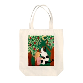 Free rougeの女の子と牛 Tote bags