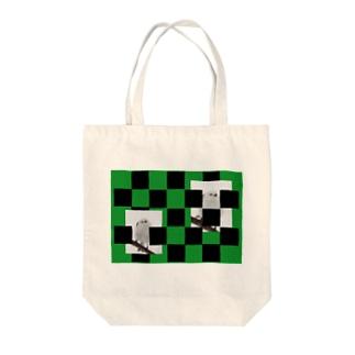 【にこらび】シマエナガ緑◇006 Tote bags