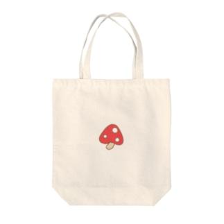 ククまるご愛用キノコ(レッド) Tote bags