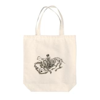 ドコノウマノホネカナ Tote bags