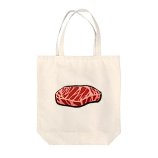 お肉 Tote bags