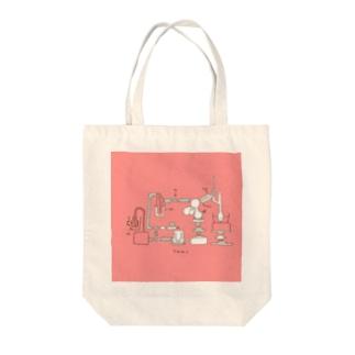 化学実験(ピンク) Tote bags