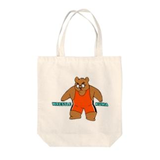 WRESTLE KUMA(オレンジ) Tote bags