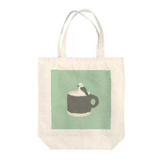 ワライカワセミルク Tote bags