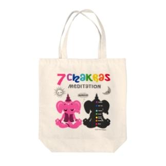 ガネゾーくんのチャクラ瞑想 ピンク Tote bags