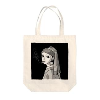 新宿の耳飾りの少女(モノクロver.) Tote bags