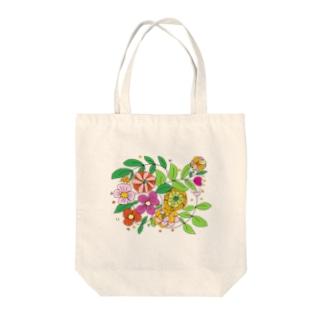 カラフルなお花 Tote bags