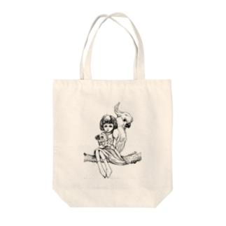 オウムと少女 Tote bags