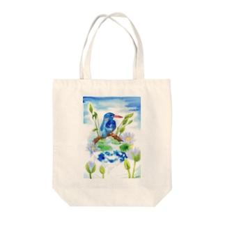 Earth〜カワセミ Tote bags