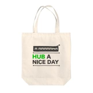 HUB A NICE DAY Tote bags