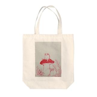 カエルとキノコ Tote bags
