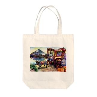 猫と和と牛車と富士山 Tote bags