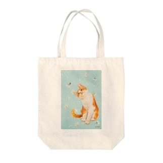 てんとう虫と茶白猫 Tote Bag
