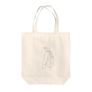横顔ガール Tote bags