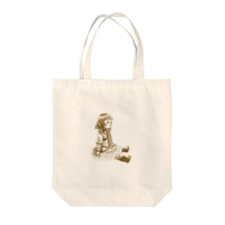 おすわりブリュ セピア Tote bags