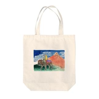 渡画楽吹 〜watarigarasu〜のアマビエ✖️北斎パロ [凱風快晴] Tote bags