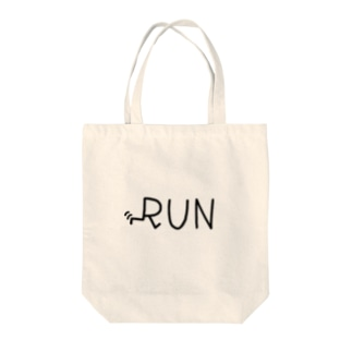 RUN wht Tote bags