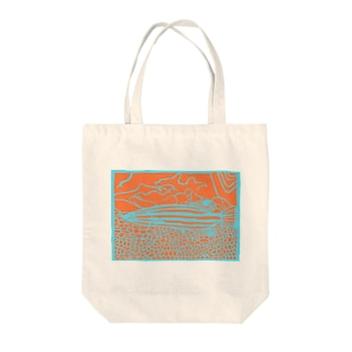 オレンジストライプバスレット 切り絵 Tote bags