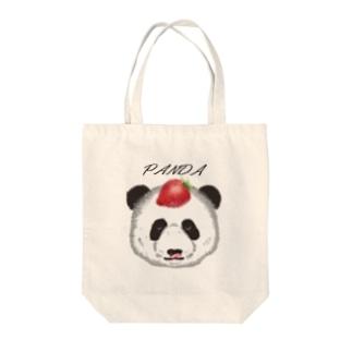 食いしん坊リアルパンダ苺 Tote bags