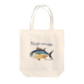 Kinkadesign うみのいきものカワイイShopのクロマグロ_うみのいきもの Tote bags