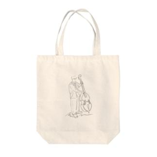 線画 コントラバスの人 Tote Bag