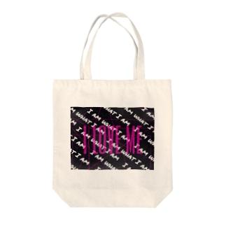 i love me Tote bags
