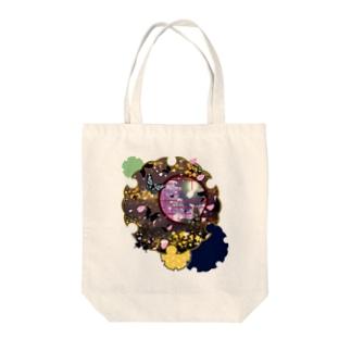 雪輪に夜桜蝶 Tote bags