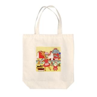 Animal Waitress Tote bags